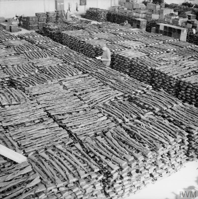 NORWAY AFTER LIBERATION 1945 (BU 9763) Storeroom at Solar aerodrome, Stavanger, holding some of the estimated 30,000 rifles taken from German forces in Norway after their surrender. Copyright: © IWM. Original Source: http://www.iwm.org.uk/collections/item/object/205205892