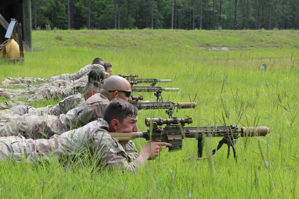 Soldiers from the 1st Armored Brigade Combat Team, 3rd Infantry Division, conduct weapons familiarization at the Fort Stewart, Ga., sniper range while fielding the U.S. Army's new M110A1 Squad Designated Marksman Rifle, June 5th, 2020. 1ABCT was the first unit in the U.S. Army to field this rifle. The SDMR was designed to fill the capability gap between the standard issue rifle, and a sniper rifle.