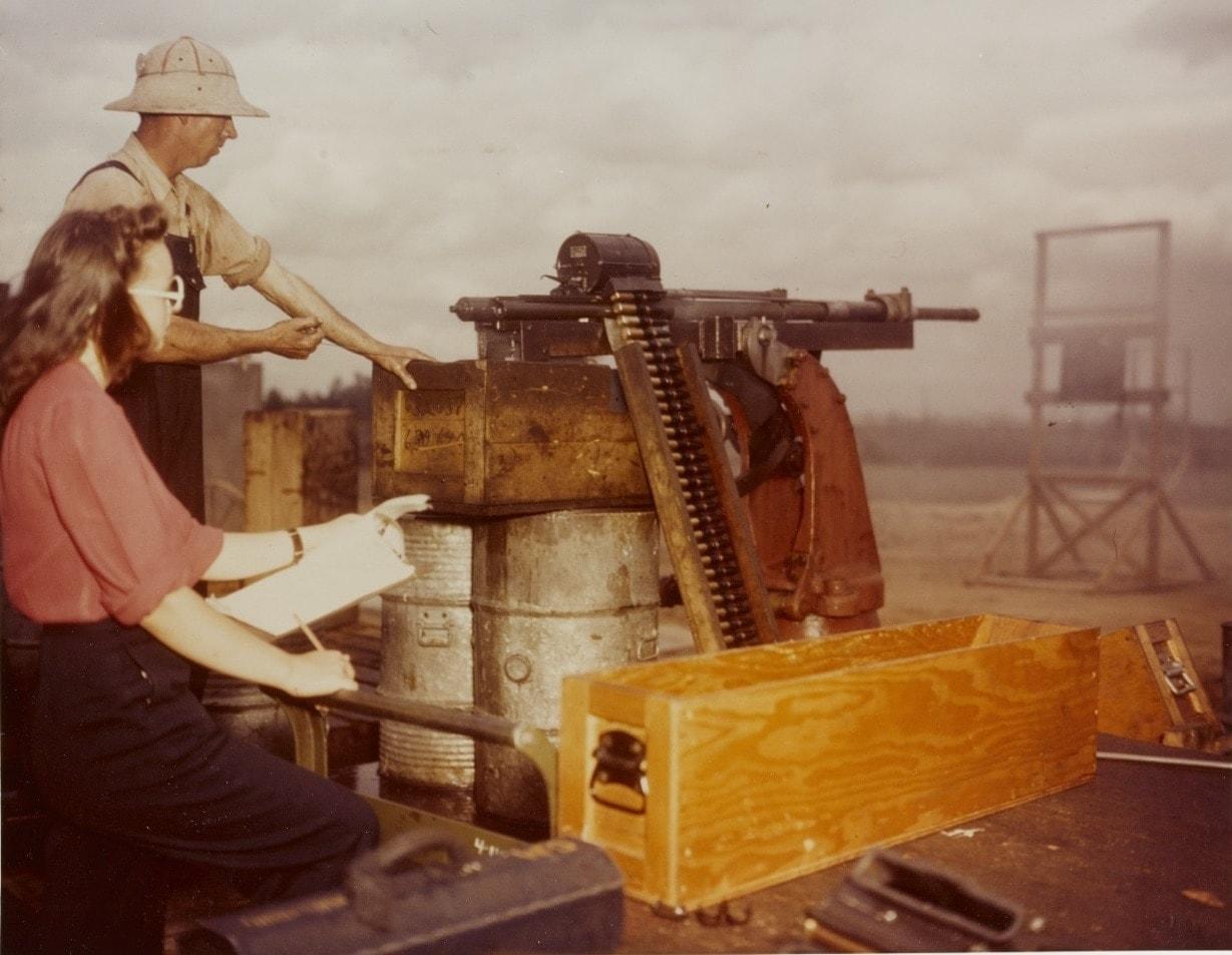 80-G-K-13606 Dahlgren Workers test fire a 20mm aircraft machine cannon