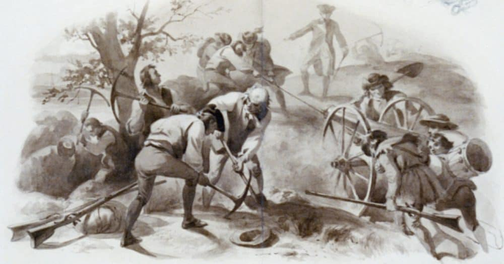 Bunker Hill by Felix Darley, showin Soldiers digging and pulling artillery