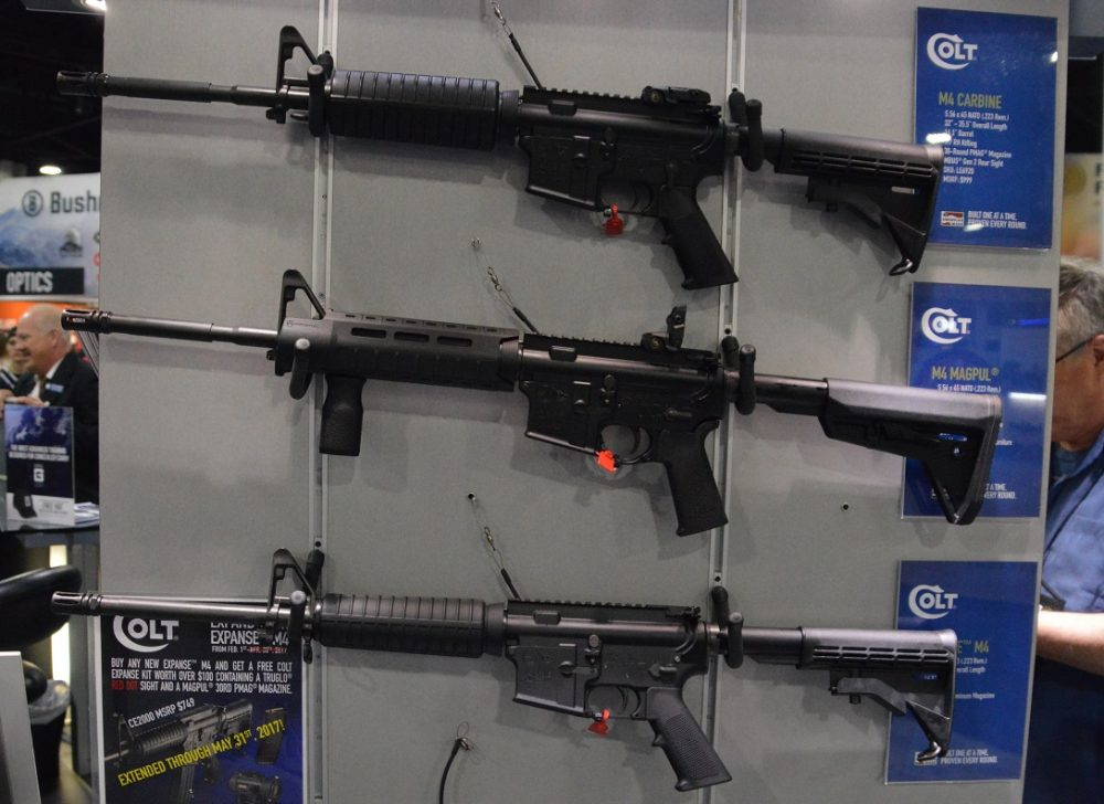 A rack of Colt AR-15 rifles on display in 2017