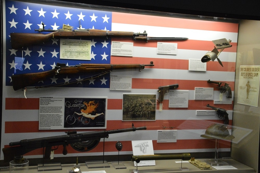 U.S. military firearms of WWI, including the M1903 Springfield, M1917 Enfield, Chauchat light machine gun, M1911 .45 Government Issue, and M1917 .45 ACp revolver (Photo: Chris Eger/Guns.com)