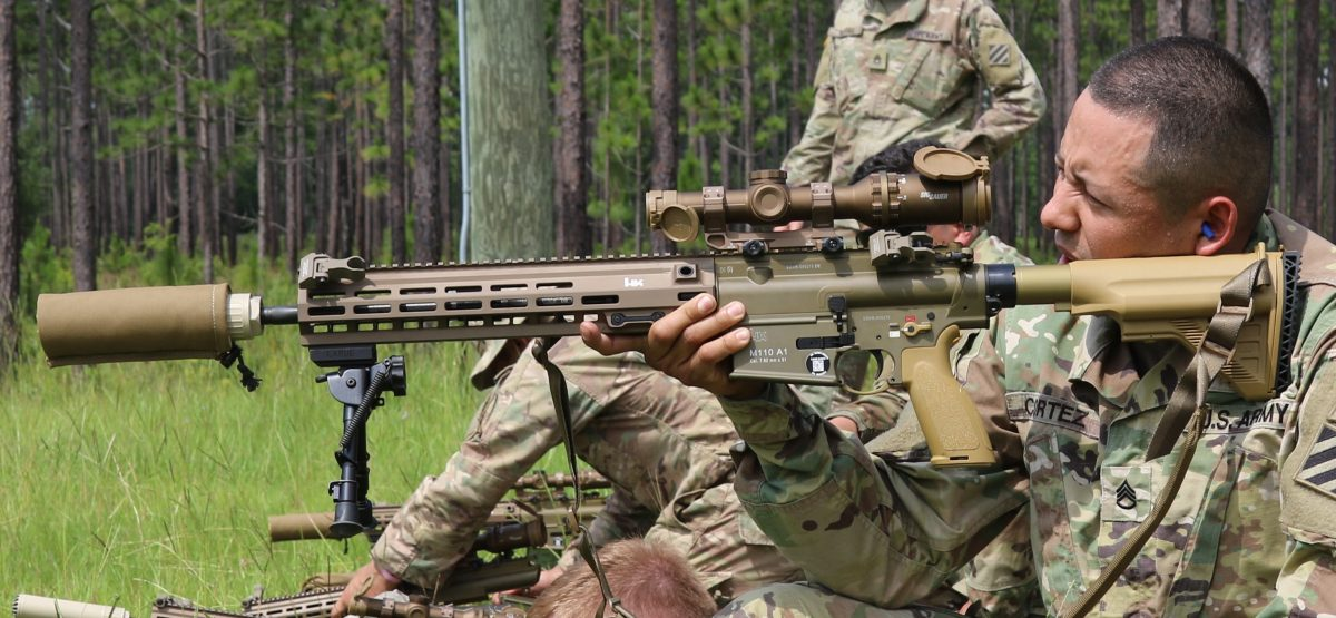 The SDMR includes offset backup sights, a Geissele mount, OSS suppressor, Harris bipod and Sig Sauer's 1-6x24mm Tango6 optic. (Photo: U.S. Army) https://www.guns.com/firearms/search?keyword=tango%206&news=true&author=eger