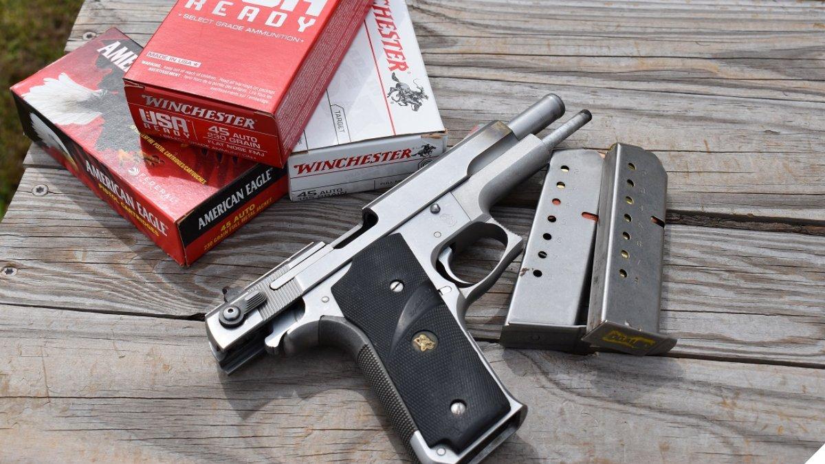 A Smith Wesson 645 on a gun range table
