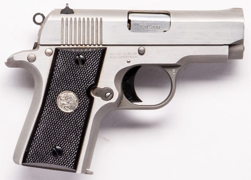 The Colt Mustang pistol chambered in .38 ACP.