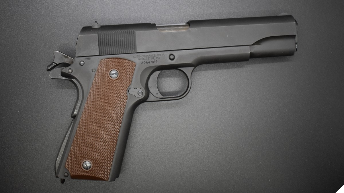 Auto Ordnance M1911 in lightbox, right hand view