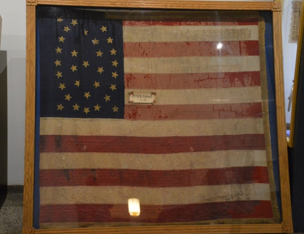 The battle flag of the Civil War-era 28th Regiment Indiana Infantry (Colored) at the Indiana War Memorial in.gov/iwm/2397.htm (Photo: Chris Eger/Guns.com)