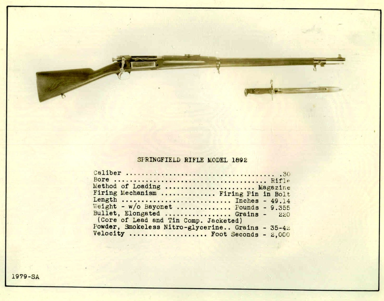 1892 Model Springfield rifle. Bolt-operated krag 1979-SA.A.1