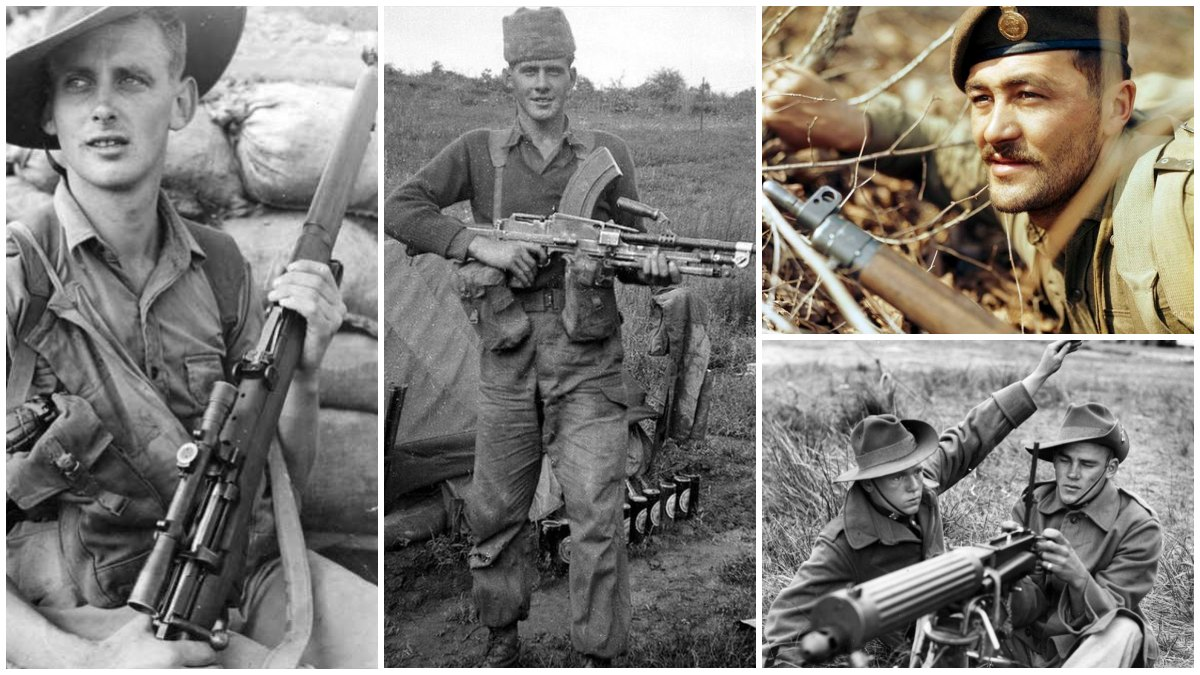 From left to right: an Australian soldier in Korea with an Enfield sniper rifle variant, a British trooper of the Royal Norfolk Regiment in Korea with his trusty BREN gun, a soldier of the 2nd Battalion Princess Patricia's Canadian Light Infantry gripping his No. 4 Enfield on a hill in Korea, and an Australian Vickers machine gun crew near the Tanjong River. (Photos: Australian War Memorial, Imperial War Museum, Libraries & Archives Canada)
