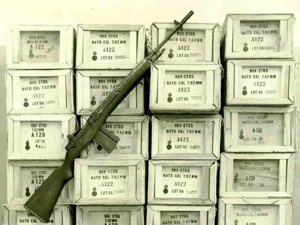 Publicity Photos Used to Illustrate 30,000 Round Test of M14 Rifle 14 Sept 1961 in one day SPAR gun C3 1045-61.C.1.