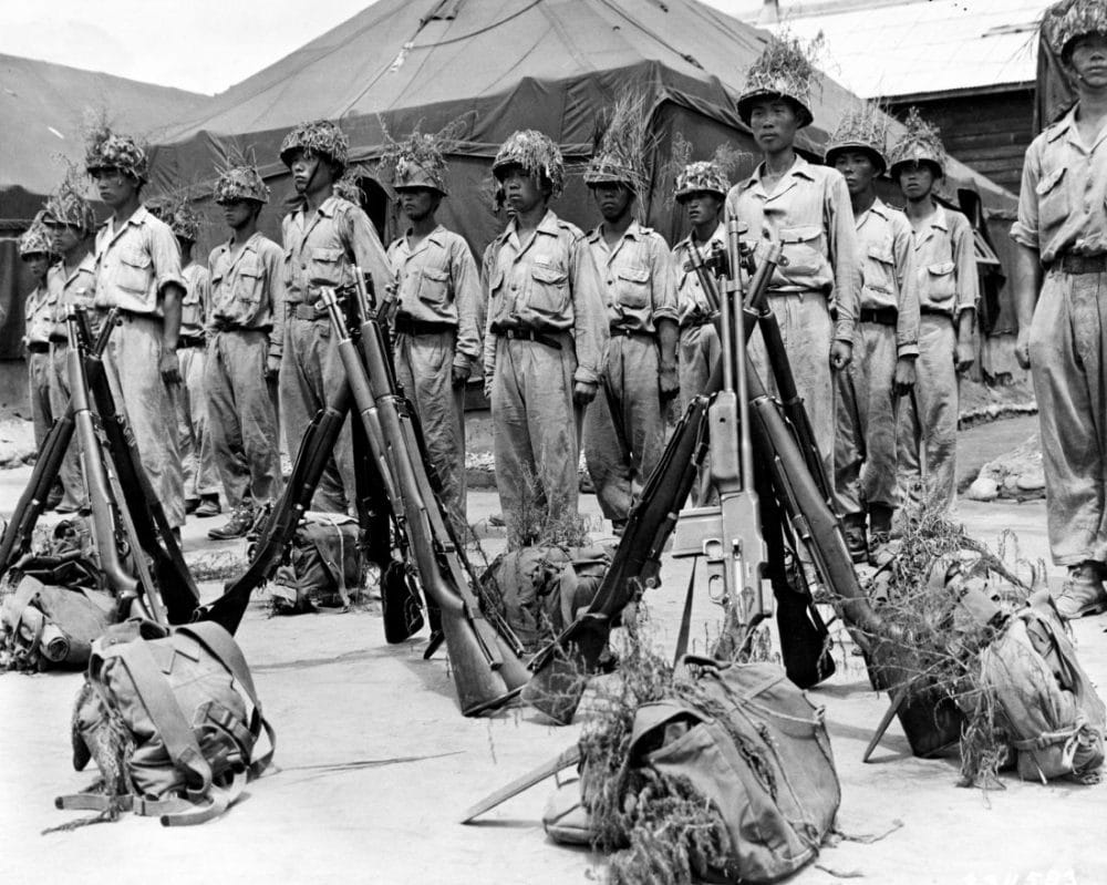The ROK Army was equipped along U.S. lines, using M1 Garands and Carbines, M1918 BARs, M1919 Brownings, M1911A1 handguns, and the like. Korea received 296,450 M1 rifles and still reportedly has warehouses full of them. Pictured: Soldiers of the Republic of Korea during an inspection, Jan. 1950. (Photo: U.S. Army Photo)