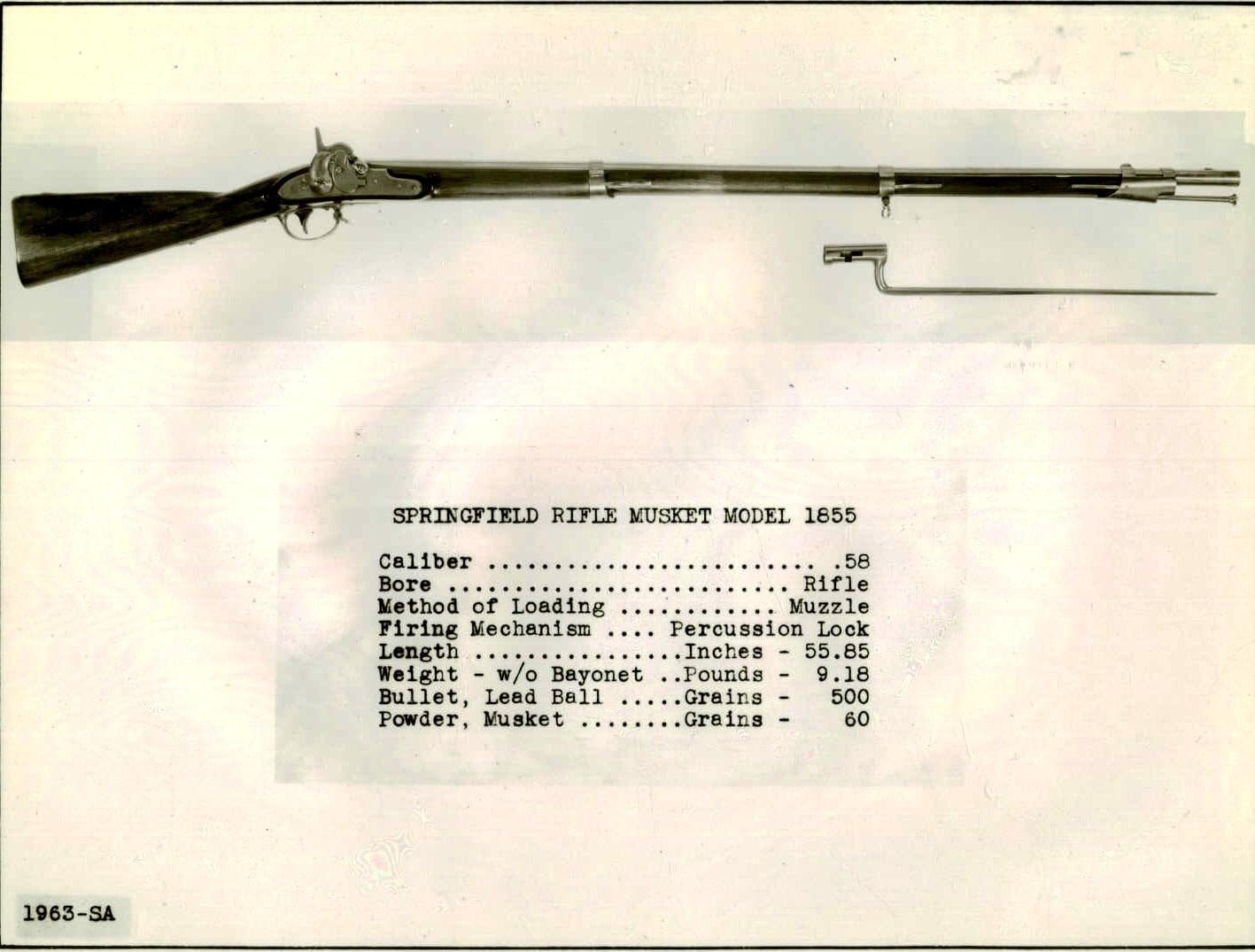 Springfield 58 cal 1855 model percussion lock musket 1963-SA.A.1