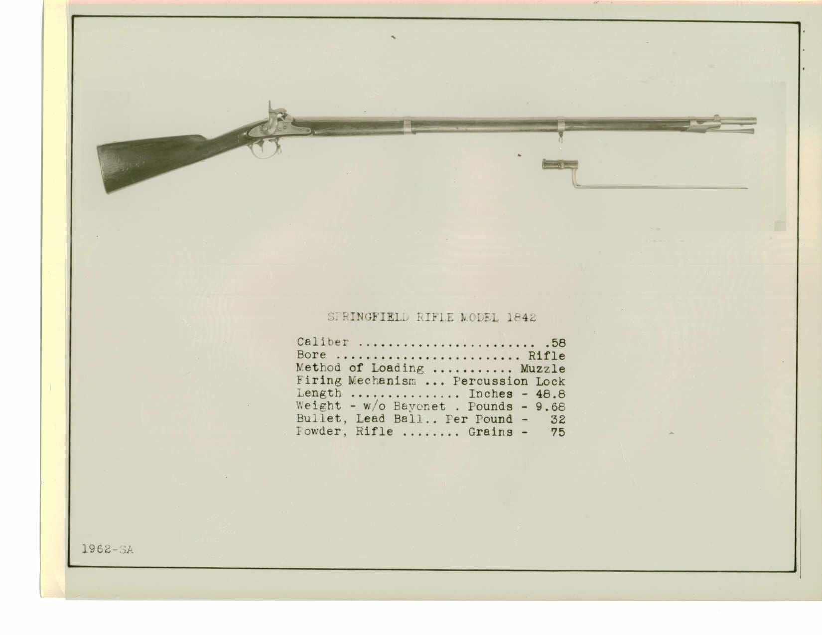 Springfield rifled musket 1842 percussion lock 1962-SA.A.1