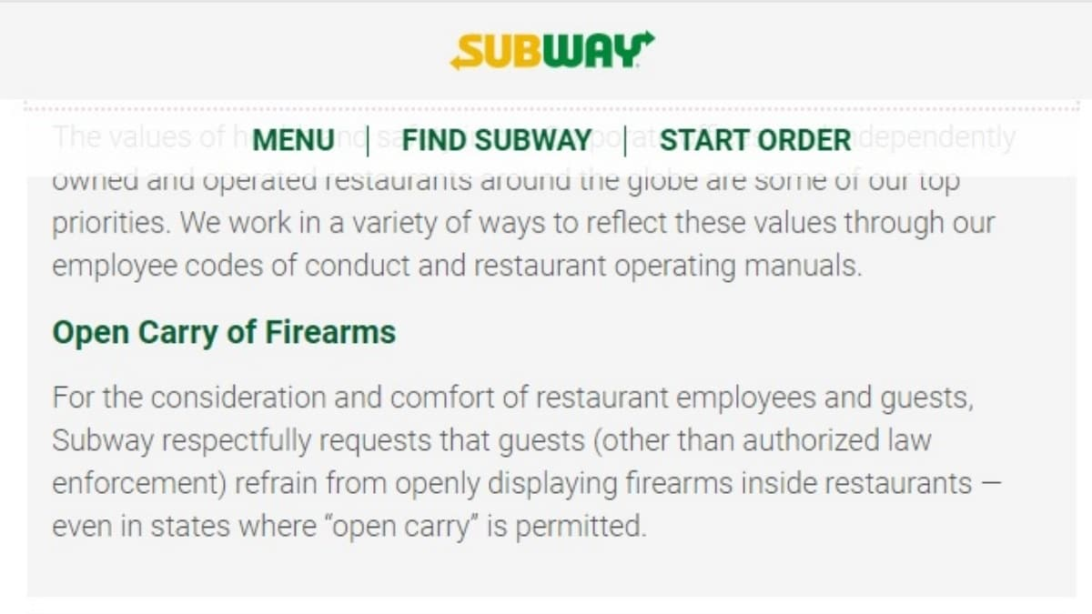 Subway Folds on Open Carry After (Slight) Pressure from Anti-Gun Groups