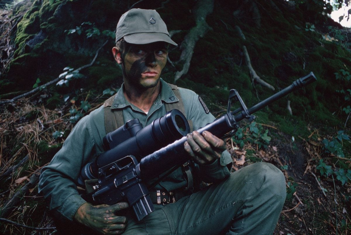 An infantryman armed with an M16A1 rifle and an AN/PVS-2 Starlight scope for use at night, July 1, 1972 (Photo & Caption: National Archives)